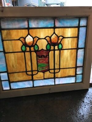 SG 1622 antique Stainglass floor window 24.25 x 29.25