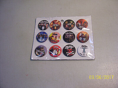 """Carded Lot of 12 Different Brand New 1 1/4"""" BLACK EYED PEAS Pin Back Buttons"""