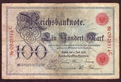 1898 100 Mark Germany Vintage Paper Money Banknote Currency Rare Antique Note