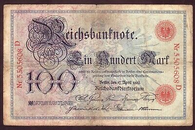 1903 100 Mark  Germany Vintage Paper Money Banknote Currency Rare Antique Note