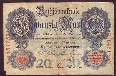 1906 20 Mark Germany rare vintage paper money banknote currency antique old bill