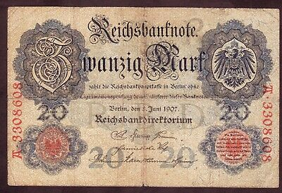 1907 20 Mark Germany vintage paper money banknote currency antique rare old note