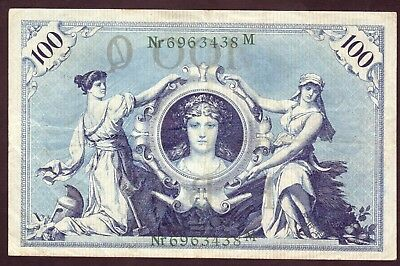 1908 100 Mark Germany Vintage Paper Money Banknote Currency Rare Antique bill