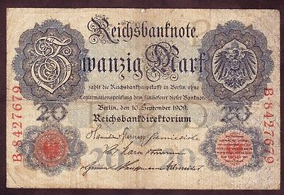 1909 20 Mark Germany Vintage Paper Money Banknote Currency Rare Antique Note old