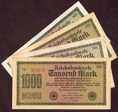 1922 Germany 1000 Mark Lot 4 Vintage Paper Old Money Antique Banknote Collection