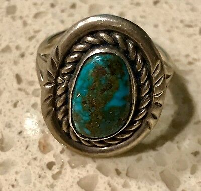 vintage silver ring with turquoise size 6 1/2