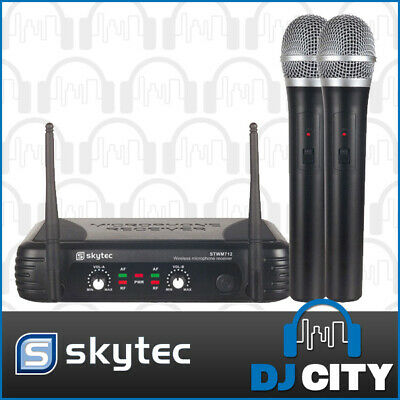 Skytec Wireless Mic Microphone System 2 X Handheld Vhf Wireless Microphones -...