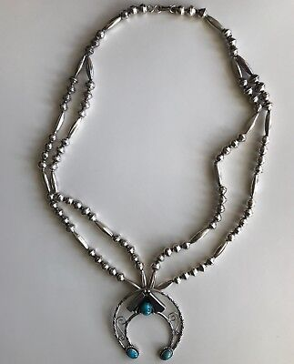 Vintage Native American silver bead necklace with naja