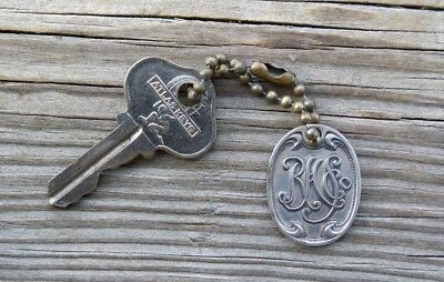 Antique RHS Co Sterns Department Boston Store Charge Plate Key Ring
