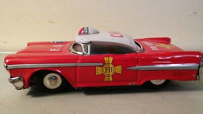 vintage HAJI toy FIRE CHIEF CAR TIN FRICTION TOY JAPAN Cadillac