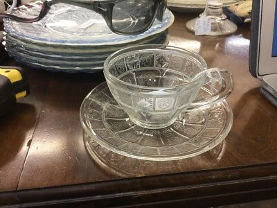Depression Glass Clear Doric And Pansy Cup And Saucer