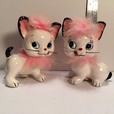 Cute Kitten/Cat Pink Fur Anthropomorphic Salt & Pepper Shakers Vintage