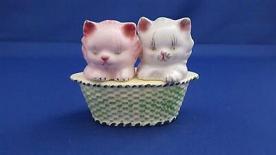 Rare Py Kitty Cats In Basket Salt Pepper Shakers Japan #py4386 Adorable!