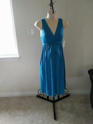 NEW S Small turquoise teal maternity nursing gown dress sleepwear