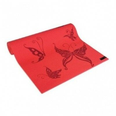 (Coral) - Wai Lana Yoga & Pilates Mat Butterfly Design. Delivery is Free