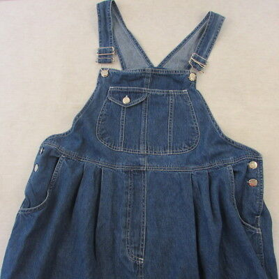 Zero 2 Nine Maternity Wear Bib Overall Shorts Blue Jean Denim Size Large Cotton
