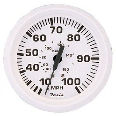 Faria Dress White 10cm Speedometer - 80MPH (Mechanical). Shipping Included