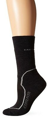 (Large, Jet Heather/Silver/Black) - Icebreaker Hike+ Lite Crew Socks-Women's