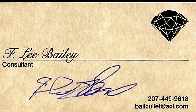 F Lee Bailey OJ Simpson Lawyer Signed Business Card Authentic Autograph Auto