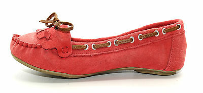Primark Womens Wide Fit Distressed Red Real Suede Slip On Pumps Shoes UK Size 4