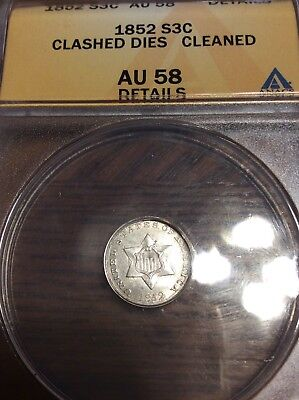 1852 THREE CENT SILVER 3c~ CLASHED DIES ~Early Coin~ Cleaned Au58