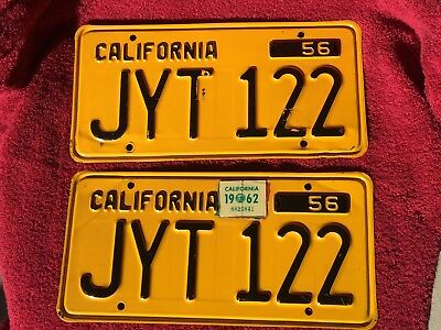 Set~1956~California~ Auto~Pres. Steel~License Plates~ # Jyt 122~Black&gold-Clear