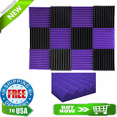 12 Pack Acoustic Wall Panels Purple Charcoal Foam Wedges Sound Proof Studio Home