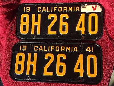 Set~1941~California~ Auto~Pres. Steel~License Plates~ # 8H2640~Blk&gold~Yom Tag