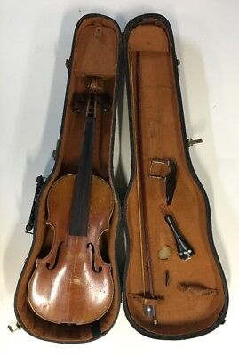 Vintage Violin in Lifton Case w/Bow Germany Parts or Restoration. Not Working.