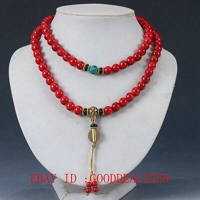 100%Natural turquoise&Red Coral & Brass Handwork Decoration Necklaces XL058