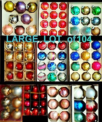 LARGE LOT of 104 GLASS CHRISTMAS ORNAMENTS some Vintage Shiny Brite stencils