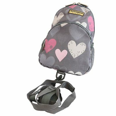 Emmzoe Toddler Backpack with Detachable Safety Harness Leash (Gray Hearts)