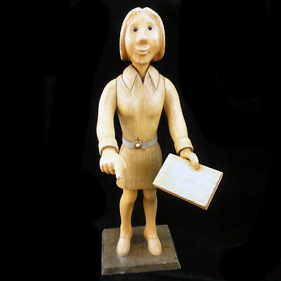 "TEACHER FEMALE TALARICO WOODEN Figurine 12.75"" tall made in Italy NEW NEVER SOLD"