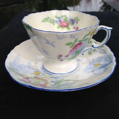 Hammersley Fine China Handpainted pastoral scene Teacup and Saucer Free Shipping