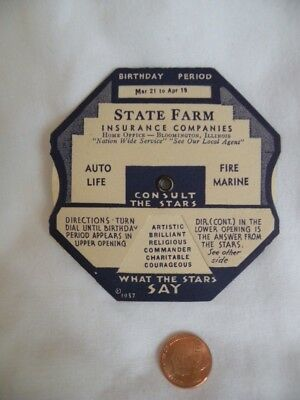 1937 Vintage Age O Gram State Farm Insurance consult the stars dial wheel