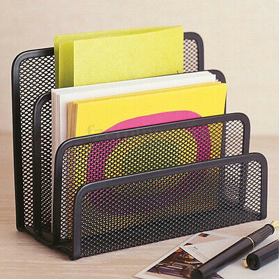 Magazine Publication Filing Tray 3 Shelves Storage Box Divider File Holder Rack#
