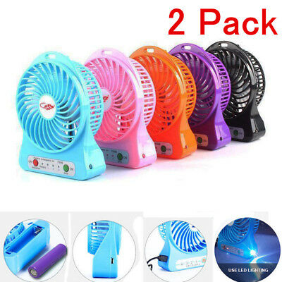 2 Portable Rechargeable LED Light Fan Air Cooler Mini Desk USB 18650 Battery Lot