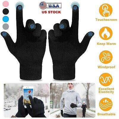 Magic Touch Screen Gloves Women Girl Stretch Knit Mittens Winter Warm Gloves New
