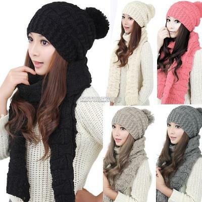 Women's Winter Knitted Scarf and Hat Set Thicken Knitting Skullcaps ER9901 01