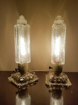 Pair Vintage Art Deco Glass-Crystal Skyscraper Bullet Vanity Boudoir Lamps