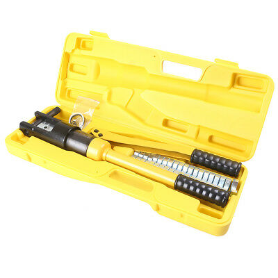 Hydraulic Wire Terminal Crimper 16 Ton Battery Cable Lug Crimping Tool w/Dies