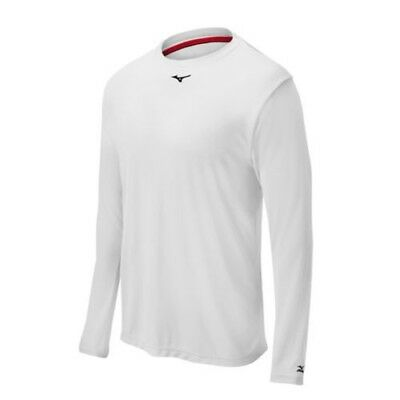 (X-Small, White) - Mizuno Comp Long Sleeve Crew Top. Delivery is Free