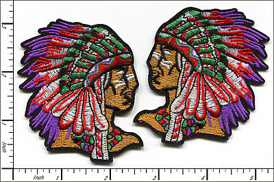 20 Pcs Embroidered Sew or Iron on patches Amerind Portrait AP055bE