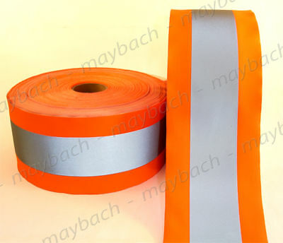 "REFLECTIVE MATERIAL FABRIC tape sew-on / 4 1/2"" ANSI II - Safety Orange"