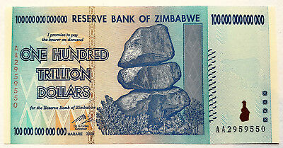 Zimbabwe $100 trillion. Uncirculated/ UNC