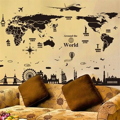 World map removable pvc vinyl art wall sticker room decal mural home removable world map home decor pvc vinyl art room wall sticker decal mural uk gumiabroncs Gallery