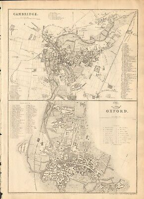 1863  Large Antique Map - Dispatch Atlas- City Plan- Cambridge & Oxford