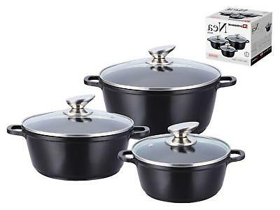 3pc Nonstick Aluminium Die Cast Stockpot Soup Pot Casserole Cooking Set Nea BLK