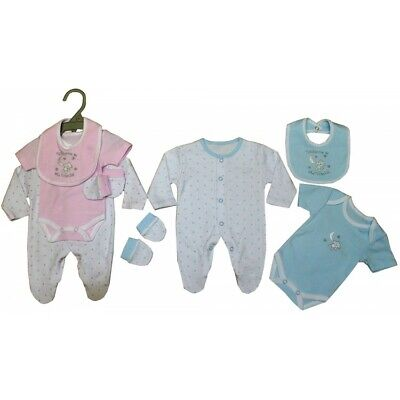 Tiny Newborn Preemie Prem Baby Boy Girl Pretty 4 Piece Sleepsuit Layette Clothes