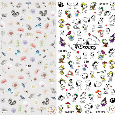 Cartoon Snoopy Owl Flower Dandelions Nail Decals Art Stickers Manicure